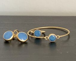 set armband ring oorbellen blauw agaat