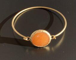oranje calciet armband verguld