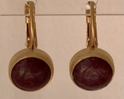 earring agath brown red goldplated