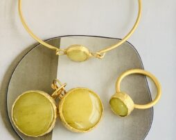 geel calciet set goldplated