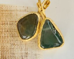 groen bruin agaat oorbellen verguld