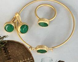 groen agaat set verguld
