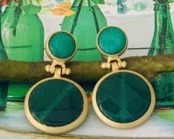 groen agaat verguld oorbellen