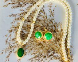 groen agaat ketting oorbellen verguld