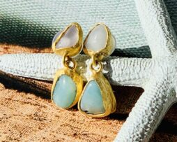 aquamarijn gold plated earring